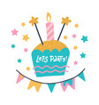 birthday party flat hand drawn lets party hand vector image vector image