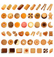 biscuit icon set cartoon style vector image