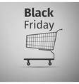 Black friday sale Shopping cart flat icon on grey vector image vector image
