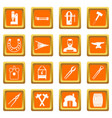 blacksmith icons set orange vector image vector image