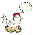cartoon hen on eggs with thought bubble vector image vector image