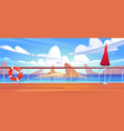 cartoon seascape view from cruise ship deck vector image