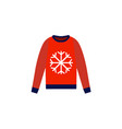 christmas red sweater on white background flat vector image