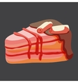 Delicious piece of strawberry cake vector image vector image
