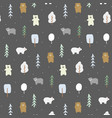doodle bears pattern vector image vector image