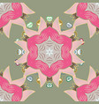 ethnic ornament on pink colors magic vintage vector image vector image