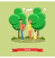 Family in park concept banner People vector image vector image