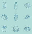 fast food outline color isometric icons vector image vector image