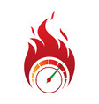 flaming speed gauge icon in abstract style on vector image vector image