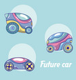 future cars in round icons vector image