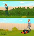 gardening work banner set vector image vector image