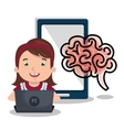 girl studying online isolated icon design vector image