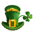 green hat full gold coin and luck leaf clover st vector image vector image