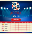 group g qualifier table russia 2018 world cup vect vector image vector image