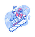 happy freestyle snowboarder man jumping vector image