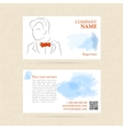 Horizontal business card man in orange bow tie vector image