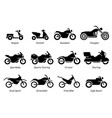 list different type motorcycle bike and vector image vector image
