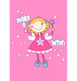 Make a wish with girl on spotted background vector image vector image