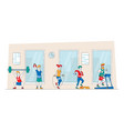 male and female characters training vector image vector image