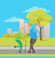 old man and woman dancing in urban park vector image vector image