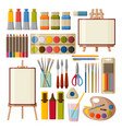 paint art tools set watercolor gouache oil and vector image
