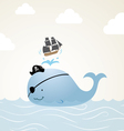 Pirate Whale Cartoon vector image vector image