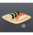 Realistic Sushi Roll Plate Sticks Fast Food Icon vector image