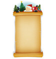 santa claus behind old parchment background vector image vector image
