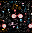 seamless graphic pattern funny retro bicycle vector image vector image