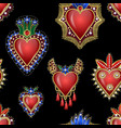 seamless pattern with traditional mexican hearts vector image