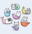 set cute kawaii cat mermaid vector image