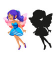 set fairy characters and its silhouette on vector image vector image
