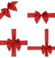 set four red bows and ribbons vector image