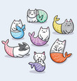 set of cute kawaii cat mermaid vector image