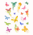 set watercolor abstract butterflies sketches vector image vector image