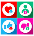 simple buttons with user feedback social network vector image