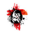 skull with ink blots background vector image