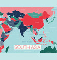 south asia region detailed editable map vector image vector image
