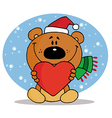 Tender Christmas Bear vector image vector image