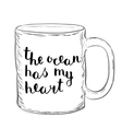 The ocean has my heart Brush hand lettering vector image vector image