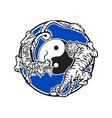 tiger and chinese dragon fighting circle mascot vector image