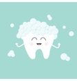 Tooth with toothpaste bubbles foam Cute funny vector image vector image