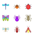 Varieties of insects icons set cartoon style vector image vector image