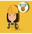 woman worker mask smog vector image vector image