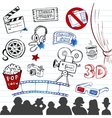 hand-drawn icons vector image