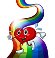 A heart walking above the rainbow vector image vector image