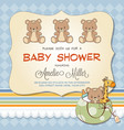 baby shower card with teddy bears vector image
