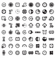 big black clock icons set vector image