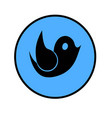 blue flat button with black bird vector image