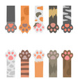 cartoon color cats paw different types set vector image vector image
